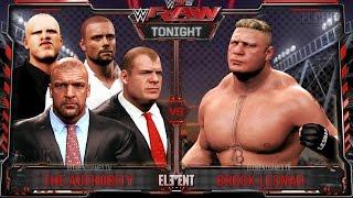 WWE RAW 2K15 : Brock Lesnar vs The Authority - 4 vs 1 Gauntlet - 06/29/15  (Guest Booker)