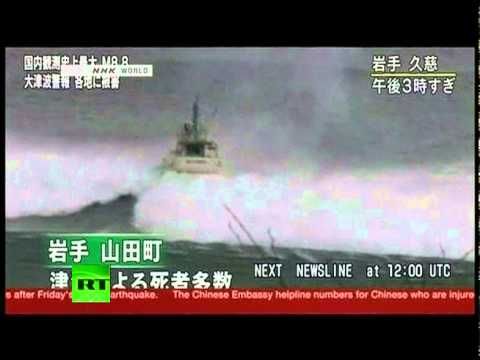 Giant tsunami wave eats boat as earthquake hits Japan