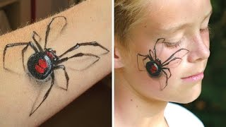 getlinkyoutube.com-3D spider makeup / Arm and face painting tutorial - Great illusion makeup for Halloween!