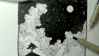 getlinkyoutube.com-Pen & Ink Drawing Tutorials | How to draw a night sky landscape with moon, stars & clouds