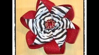getlinkyoutube.com-Nicole's Beautiful Folded Ribbon Flower using two different colors