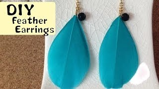 getlinkyoutube.com-DIY Accessories feather earrings フェザーピアス 作り方