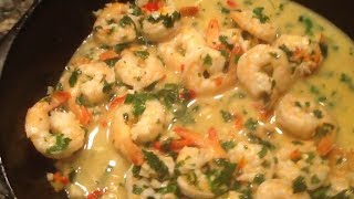 getlinkyoutube.com-Open fire shrimp scampi - cast iron outdoor cooking - garlic shrimp recipe