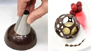 getlinkyoutube.com-Chocolate Spheres Chocolate Technique to Make At Home by CakesStepbyStep