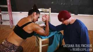 getlinkyoutube.com-Female Muscle Girl Mixed Armwrestling Oksana vs Sean