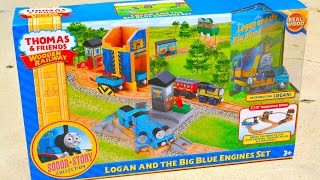 getlinkyoutube.com-Thomas And Friends LOGAN AND THE BIG BLUE ENGINES SET - Wooden Railway Toy Train Review