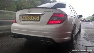 getlinkyoutube.com-Mercedes-Benz C63 AMG + C63 AMG Coupe - LOUD Revs + Full Throttle Accelerations!