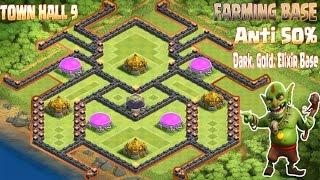 getlinkyoutube.com-Clash of clans coc Th9 best farming base ANTI 50% Gold, Dark, Elixir Base 2016,