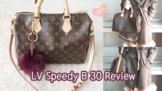 getlinkyoutube.com-Louis Vuitton Bandouliere 30 Monogram Review,Speedy B 30,How I organize my bag?,Modelling shots