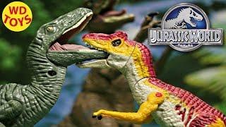 getlinkyoutube.com-New Jurassic World Allosaurus Bashers & Biters Vs Velociraptors Unboxing, Review By WD Toys