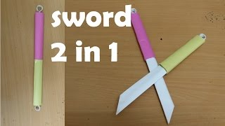 getlinkyoutube.com-How to make a Double Paper Sword - (Two in One ) - Mini Weapon (crazyPT's Design)