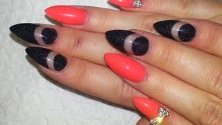 getlinkyoutube.com-Hot Neon Orange And Black Negative Space Acrylic Nails