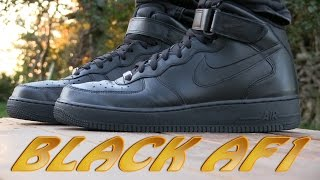 getlinkyoutube.com-Nike Air Force 1 Mid '07 (Black) - On Feet