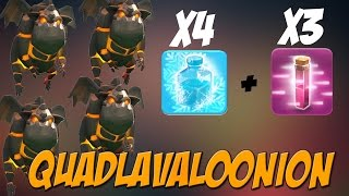 getlinkyoutube.com-NEW Haste & Freeze Spell Combo | TH10 Quad Lavaloonion Attack Strategy | Clash of Clans