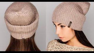 getlinkyoutube.com-Вязаная шапка спицами♥Простая женская шапка+мастер класс♥lesson 1.Шапка бини спицами♥