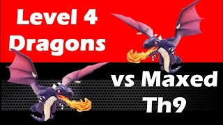 Clash Of Clans - Level 4 Dragons vs Fully Maxed Th9 With Walking Queen Healer