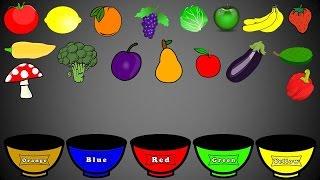 getlinkyoutube.com-Fruits and Vegetables Colors, Color Sorting For Kids, Educational Video Kindergarten Preschool Game