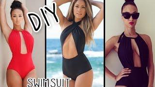 getlinkyoutube.com-DIY Halter Monokini Swimsuit