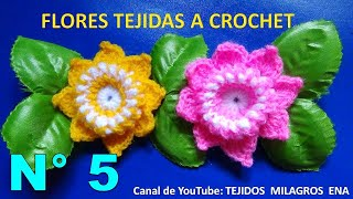 getlinkyoutube.com-Flor tejida a crochet # 5 paso a paso en español