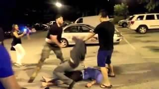 getlinkyoutube.com-White Goon Knocks Out 2 Guys In Club Parking Lot