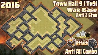 getlinkyoutube.com-Coc Th9 War base anti 2 star. Town Hall 11 Attack Town Hall 9 [2 Star] Clash of clans 2016