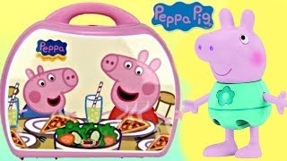 getlinkyoutube.com-Nick Jr. PEPPA PIG Mini Pizzeria Play Set Carry Case, George Pizza, Shopkins Food Fair Toy / TUYC
