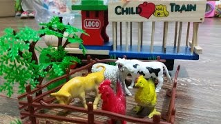 Kids toys surprise. Animals for the farm.  Funny video