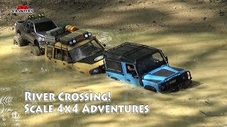 getlinkyoutube.com-River Crossing Scale Trucks Offroad Adventures RC Toyota Hilux Land Rover Defender SCX10 RC4WD