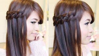 getlinkyoutube.com-Knotted Loop Waterfall Braid Hairstyle | Hair Tutorial