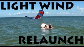 Light Wind Kite Relaunch on Hydrofoil