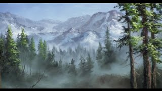 getlinkyoutube.com-Misty Mountain Range - Panel Painting