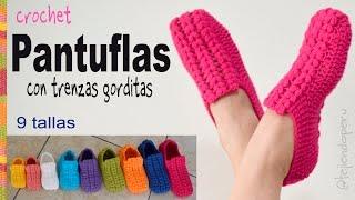 Zapatos o pantuflas UNISEX con trenzas gorditas a crochet en 9 tallas - Tejiendo Perú
