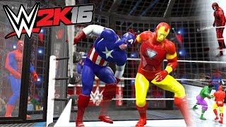 getlinkyoutube.com-WWE 2K16 - Spiderman VS Carnage VS Hulk VS Captain America VS Iron Man VS Thor