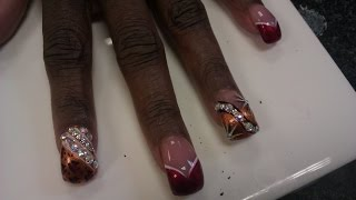 getlinkyoutube.com-Curved Acrylic Nails with Red and Gold Nails Art Design