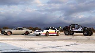 getlinkyoutube.com-SEMA Drag Race! '70 Mustang vs Porsche 911 vs Ultra Four Buggy - 2013 SEMA Week Ep. 4