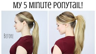 getlinkyoutube.com-My 5 Minute Ponytail Routine