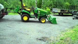 getlinkyoutube.com-Heavy Hitch Forks lifting tiller and John Deere 1026r