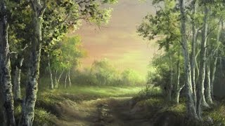 getlinkyoutube.com-Birch Forest at Sunset | Paint with Kevin Hill