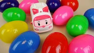 getlinkyoutube.com-Surprise eggs and Robocar Poli Amber ambulance car toys