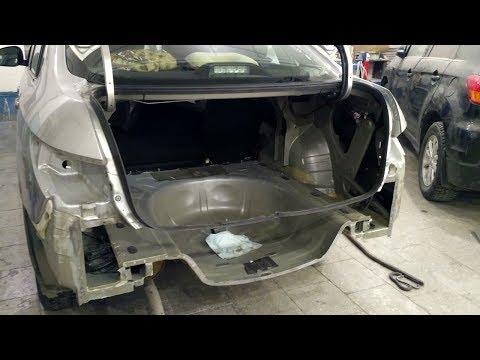 Nissan Almera, замена панели задка, ремонт бампера.
