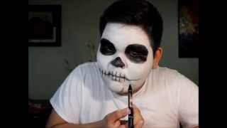 getlinkyoutube.com-Maquillaje de catrin (Dia de muertos) TUTORIAL HALLOWEEN