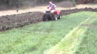 getlinkyoutube.com-Big Buck Tools atv 3 pt. hitch pulling bottom plow part 2