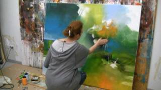 getlinkyoutube.com-Abstract acrylic painting demo , Acrylmalen abstrakt im Großformat
