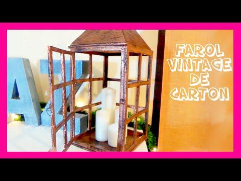 Linterna porta velas o Farolillo vintage de cartón, manualidades navideñas fáciles