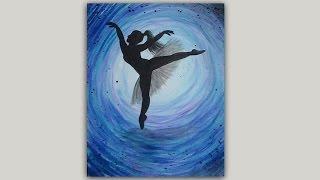 Ballerina Silhouette Acrylic Painting
