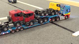 getlinkyoutube.com-Rc Trucks @ Leyland. Zandbergen Scania R620 V8 & transporter  TAMIYA RC LKW