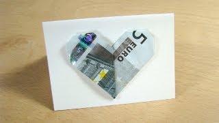 getlinkyoutube.com-Geldgeschenke: Herz - Geldscheine falten - Herz falten für Geldgeschenke zur Hochzeit