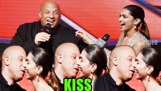getlinkyoutube.com-Vin Diesel Kiss Deepika Padukone At Press Conference Of Film XXX