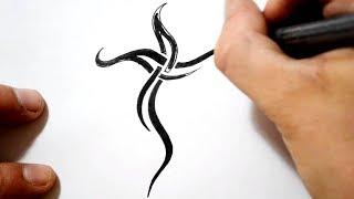 getlinkyoutube.com-Cross Tattoos - Drawing a Simple Black Tribal Design