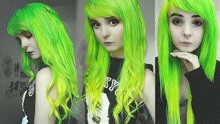 getlinkyoutube.com-☯ Dying my hair lime green and yellow ombre